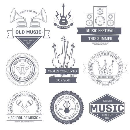 Music set label template of emblem element for your product or design, web and mobile applications with text. Vector illustration with thin lines isolated icons on stamp symbol. Vector