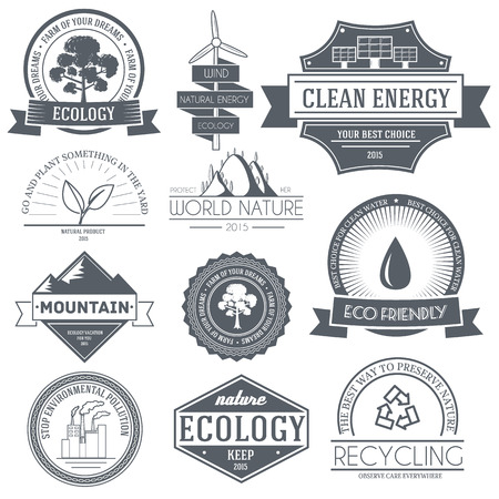 logo ecology: Ecology set label template of emblem element for your product or design, web and mobile applications with text. Vector illustration with thin lines isolated icons on stamp symbol. Illustration