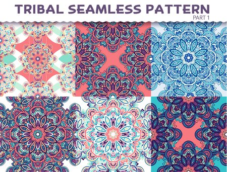 TRADITIONAL PATTERN: Tribal ethnic seamless pattern abstract background ornament illustration. Vector decorative retro banner of card. Vintage traditional, Islam, Arabic, Indian, ottoman motifs, elements. Illustration