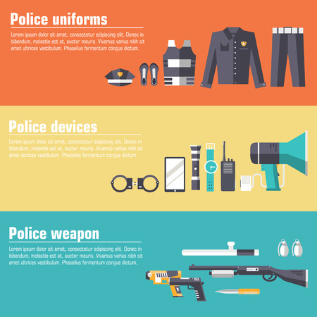 police: police uniform and set protection staff equipment in the closet office. On flat style  banners concept. Vector illustration for colorful template for you infographic, web and mobile applications Illustration