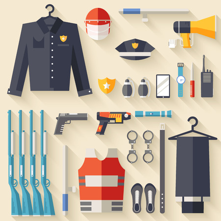 warder: security uniform and set protection staff equipment. On icons flat style background concept. Vector illustration for colorful template for you design, web and mobile applications