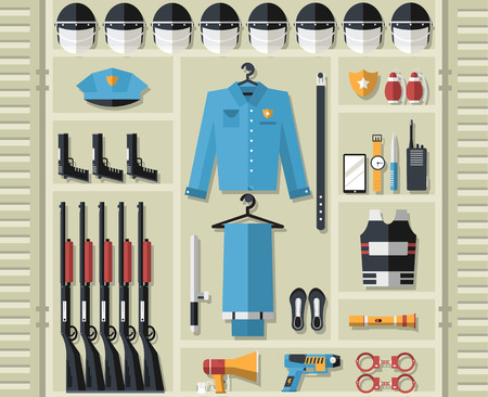police equipment: police uniform and set protection staff equipment in the closet office. On flat style background concept. Vector illustration for colorful template for you design, web and mobile applications