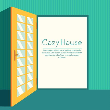 home decoration: Vintage living colorful open door on house background illustration concept. Vector illustration for colorful template for you design, web and mobile applications.