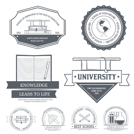 Education set label template of emblem element for your product or design, web and mobile applications with text. Vector illustration with thin lines isolated icons on stamp symbol. Vector