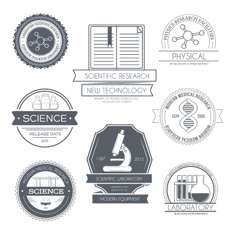 botle: Science set label template of emblem element for your product or design, web and mobile applications with text. Vector illustration with thin lines isolated icons on stamp symbol.