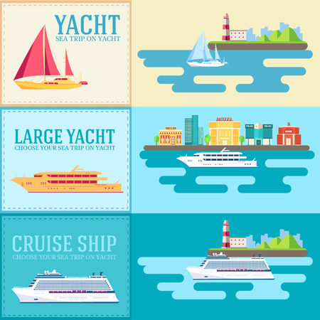 Set of flat yacht, scooter, boat, cargo ship, steamship, ferry, fishing boat, tug, bulk carrier, vessel, pleasure boat, cruise ship with blue sea banners concept. Vector design illustration