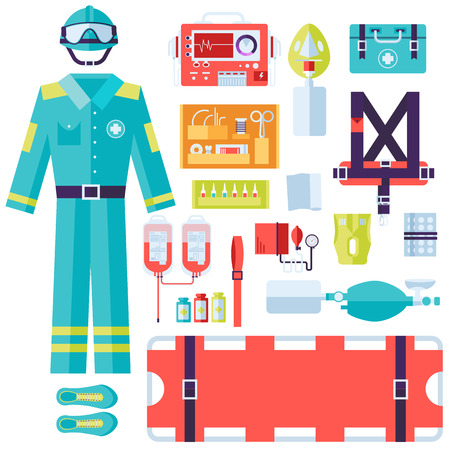 surgical coat: medical rescue uniform and set first aid help equipment and instruments. On flat style background concept. Vector illustration for colorful template for you design, web and mobile applications