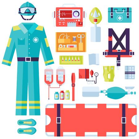 surgeon mask: uniforme de rescate m�dico y establecer los primeros auxilios equipos e instrumentos de ayuda. El plano de fondo el concepto de estilo. Ilustraci�n del vector para Plantilla de colorido para que el dise�o, aplicaciones web y m�viles Vectores