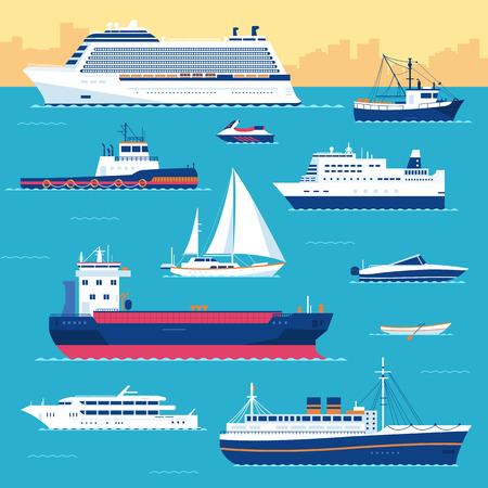运输: 設置扁平遊艇,滑板車,船,雜貨船,輪船,輪渡,漁船,拖船,散貨船,船,遊船,遊輪與藍色的大海背景的概念。矢量設計圖