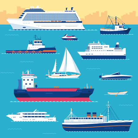 cruise: Set of flat yacht, scooter, boat, cargo ship, steamship, ferry, fishing boat, tug, bulk carrier, vessel, pleasure boat, cruise ship with blue sea background concept. Vector design illustration