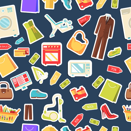 purchased: Many object purchased in the shop. Shopping abstract seamless pattern concept. In flat  sticker style icons with shop label design illustration