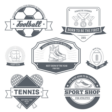 proffesional: Sport set label template of emblem element for your product or design, web and mobile applications with text. Vector illustration with thin lines isolated icons on stamp symbol.