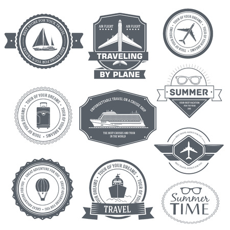 luggage tag: Travel set label template of emblem element for your product or design, web and mobile applications with text. Vector illustration with thin lines isolated icons on stamp symbol. Illustration