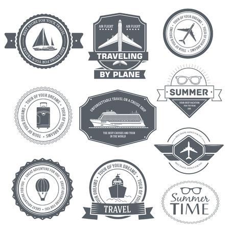 timbre voyage: Voyage fixé modèle d'étiquette de l'élément emblème pour votre produit ou conception, applications web et mobiles avec le texte. Vector illustration avec des lignes fines icônes isolés sur symbole timbre.