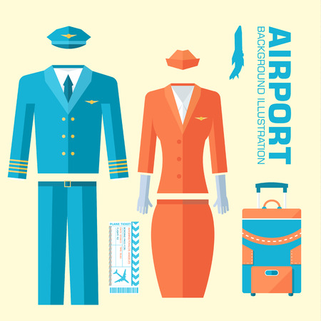aerodrome: airplane pilot and stewardess uniform on flat style background concept. Vector illustration for colorful template for you design, web and mobile applications Illustration