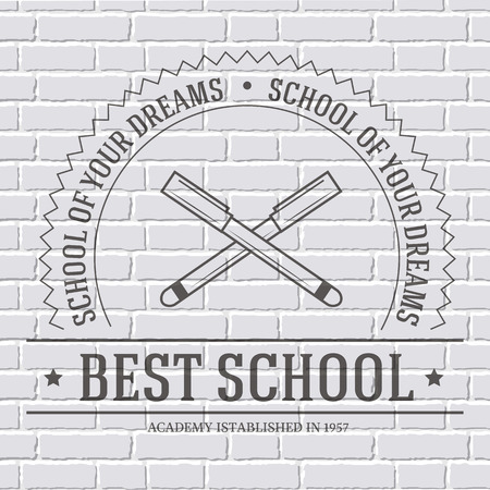 rationality: back to school logo or template on a white brick wall. Vector illustration with thin lines isolated icon for your product or design, web and mobile applications with text stamp.