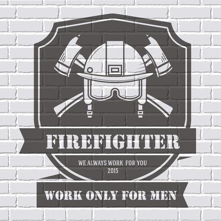 Feuerwehrmann oder Etikettenvorlage Hintergrund auf weiße Backsteinmauer. Vektor-Illustration isoliert Symbole für Ihr Produkt oder Ihre Design, Web und mobile Anwendungen mit Text. Vektorgrafik
