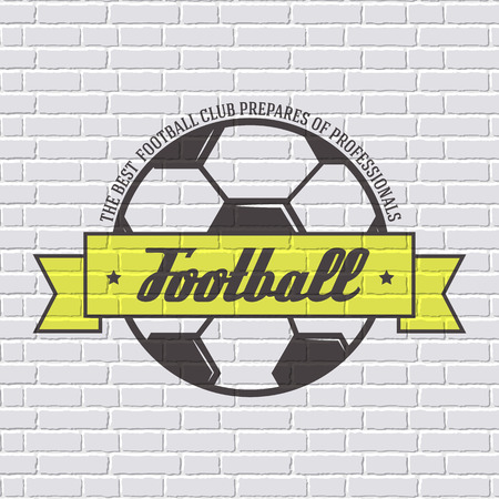 Soccer color  or label template  with blurred background on white brick wall. Vector illustration isolated icons for your product or design, web and mobile applications with text.