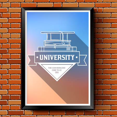 higher quality: Education logo or label template  with blurred background on brick wall. Vector illustration with thin lines isolated icons for your product or design, web and mobile applications with text stamp. Illustration