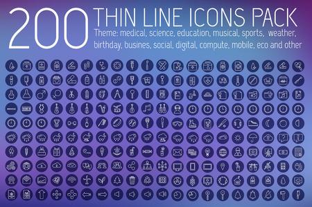 conjunto: colección de iconos pictograma líneas finas establecido concepto de fondo. Diseño de la plantilla de vectores para la web y de aplicaciones móviles Vectores