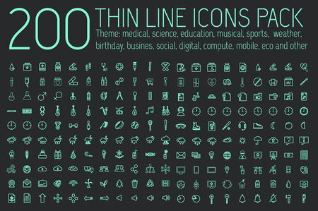 collection thin lines pictogram icon set concept background. Vector template design for web and mobile application.