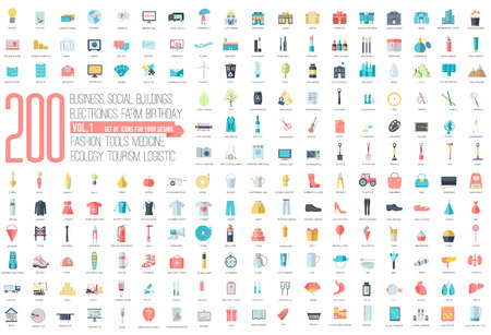 workshop: Flat collection set icons of business, social, eco, bank, farm, fashion, tool, medicine, travel, candy, logistic, make up, training, office, skill, fruit, rescue, startup. For infographic illustration