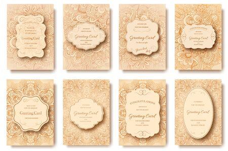 pages flyer rétro cartes tirées à la main ornement illustration concept. art vintage traditionnel, l'islam, arabe, indien, motifs ottomanes, éléments. Vector retro décoratif carte de voeux ou d'invitation conception.