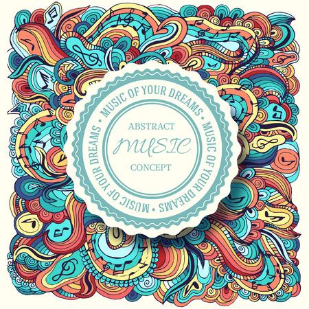 Kleurrijke kunst abstracte doodle muziek illustratie achtergrond met plaats voor de tekst op het etiket. Sjabloon voor u ontwerpen, web en mobiele toepassingen begrip Vector Illustratie