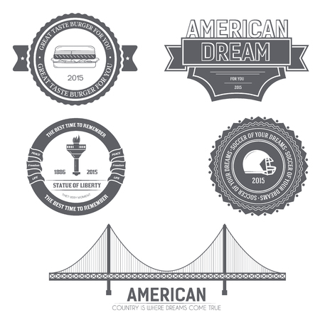 dream land: Country USA Country England label template of emblem element for your product or design, web and mobile applications with text. Vector illustration with thin lines isolated icons on stamp symbol Illustration
