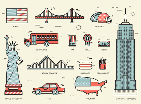 travel features: Country USA travel vacation guide of goods, places and features. Set of architecture, foods, sport, items, nature background concept. Infographics template design for web and mobile. On thin lines Illustration