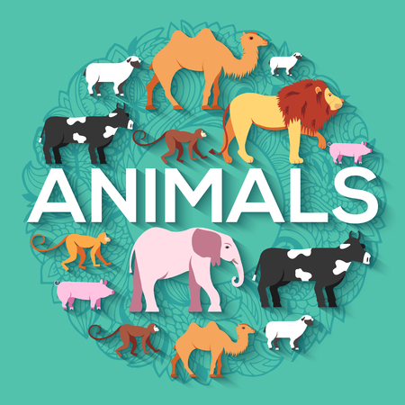 zoological: animal round concept of lion, monkey, monkey, camel, elephant, cow, pig, sheep. Vector illustration background design with ottoman motif  traditional background Illustration
