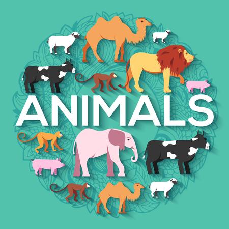 camello: concepto ronda animales de león, mono, mono, camello, elefante, vaca, cerdo, oveja. Diseño del vector ilustración de fondo con el fondo tradicional con motivos otomana
