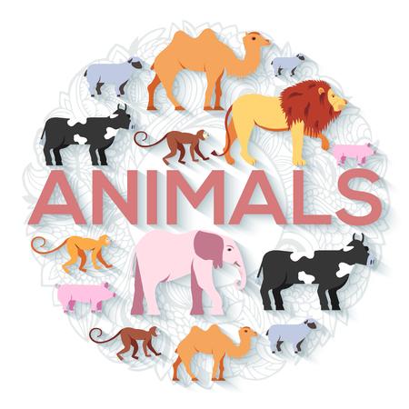 sanctuaries: animal round concept of lion, monkey, monkey, camel, elephant, cow, pig, sheep. Vector illustration background design with ottoman motif  traditional background Illustration