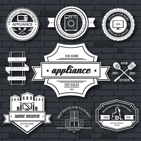 laundry room: appliances label template of emblem element for your product or design, web and mobile applications with text. Vector illustration with thin lines isolated icons on stamp symbol