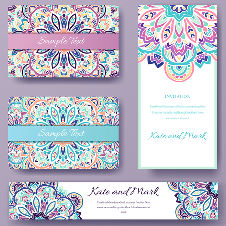 retro design: Set of ethnic ornament banners and flyer concept. Vintage art traditional, Islam, arabic, indian, ottoman motifs, elements. Vector decorative retro greeting card or invitation design illustration.