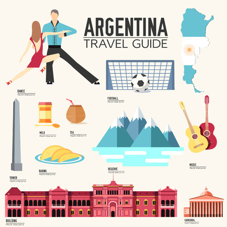 hysterical: Country Argentina travel vacation guide of goods, places and features. Set of architecture, fashion, people, items or nature background concept. Infographic template design for web and mobile Illustration