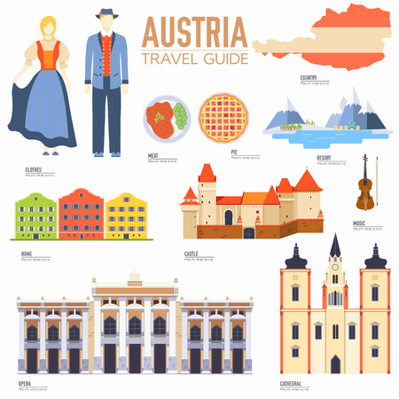 Country Austria travel vacation guide of goods, places and features. Set of architecture, people, culture, icons background concept. Infographics template design for web and mobile. On flat style Vectores