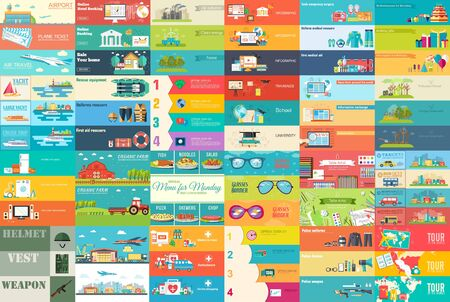 style: Big collection of banners in flat style. In Set themes: business, airport, online workshop, travel, medicine, eco, news, home appliance, farm, food, glasses, city, army, painter, export. Vector design Illustration