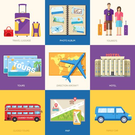 travel locations: Travel guide infographic with vacation tour locations and items. Tourism with fast travel of the world on a flat design style. Vector illustration concept icons set