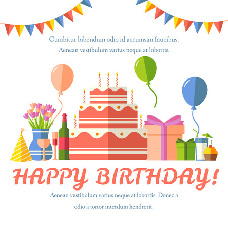 celebração: feliz fundo festivo de aniversário plano com ícones confetti definido. Partido e do projeto da celebração elementos: balões, confetes, bolo, bebidas, presentes conceito
