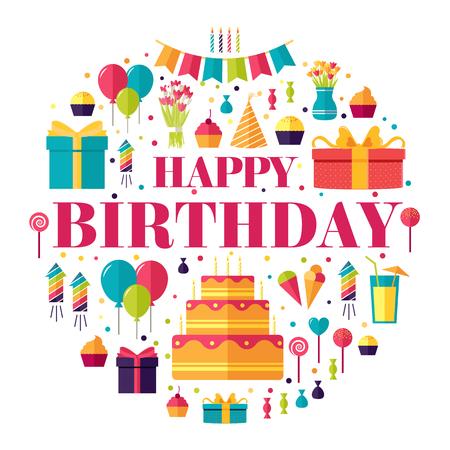 urodziny: Płaski okazji urodzin koło infografiki szablon koncepcji. Ikony designu dla swojego produktu lub projektu, stron internetowych oraz aplikacji mobilnych. Wektor płaska z długim cieniem ilustracji na tle isoleted
