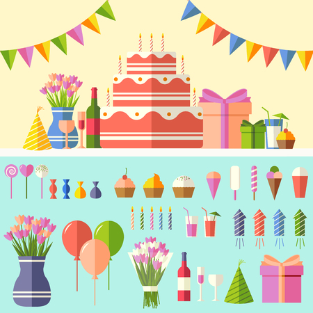 Flat happy Birthday festive background with confetti icons set. Party and celebration design elements: balloons, confetti, cake, drinks, gifts concept