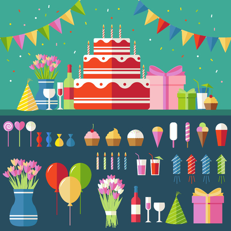 a sign: Flat happy Birthday festive background with confetti icons set. Party and celebration design elements: balloons, confetti, cake, drinks, gifts concept