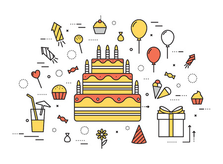 torta candeline: Thin line happy birthday party modern illustration concept. Infographic guide way from candy to the cake. Icon isolated on white background. Flat vector template design for web and mobile application
