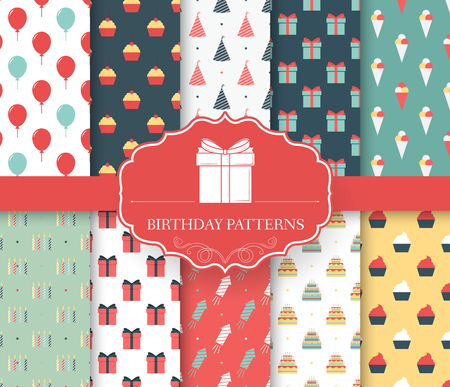 chocolate cupcake: collection set of happy birthday seamless pattern. Balloon, cake, gifts, decoration, ice cream, fireworks with label logo concept. Vector abstract template for greeting card or invitation design Illustration