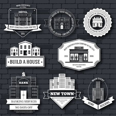 sity: City buildings label template of emblem element for your product or design, web and mobile applications with text. Vector illustration with thin lines isolated icons on stamp symbol. Illustration