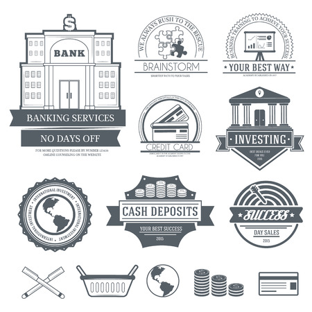 bull pen: Business set label template of emblem element for your product or design, web and mobile applications with text. Vector illustration with thin lines isolated icons on stamp symbol.