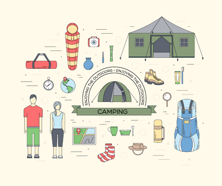 oar: Camping equipment set circle infographics template concept. Icons design for your product or design, web and mobile applications. Vector flat with long shadow illustration on blue background