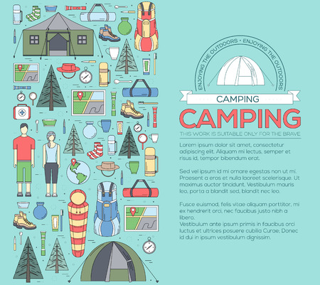 spring summer: Camping equipment set circle infographics template concept. Icons design for your product or design, web and mobile applications. Vector flat with long shadow illustration on blue background