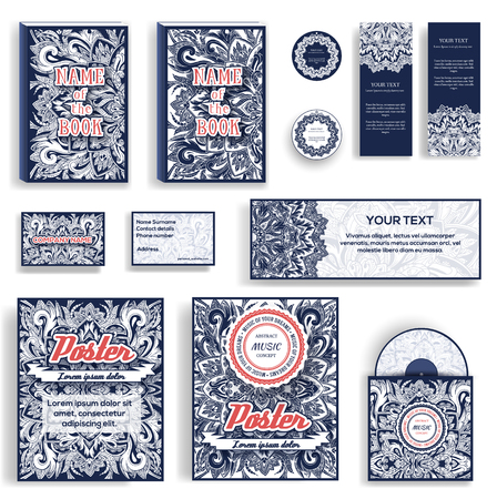text books: Corporate Identity vector templates set. Vector decorative retro greeting card, flyers, books, invitation design. Abstract beauty art ornament background illustration concept. Typographic invite text Illustration